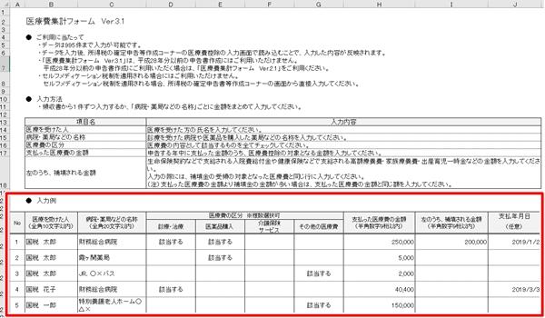 医療費集計フォームの記入例