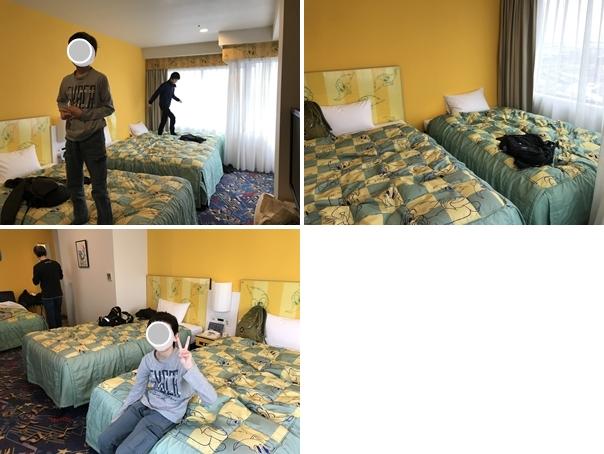 ウッディー・ウッドペッカー コーナーファミリールームのベッド4台