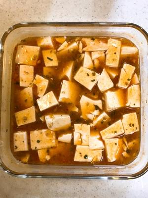麻婆豆腐のできあがり(混ぜる前)