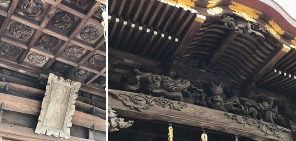 西叶神社の拝殿(龍の彫刻)