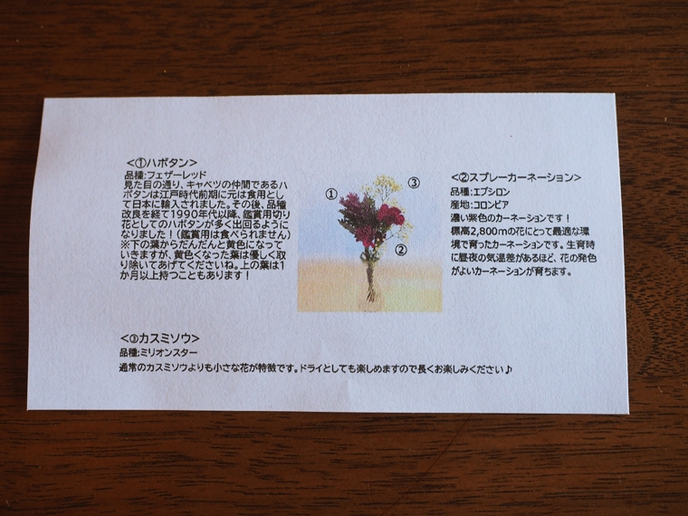 お花の説明が書かれた名刺サイズの紙